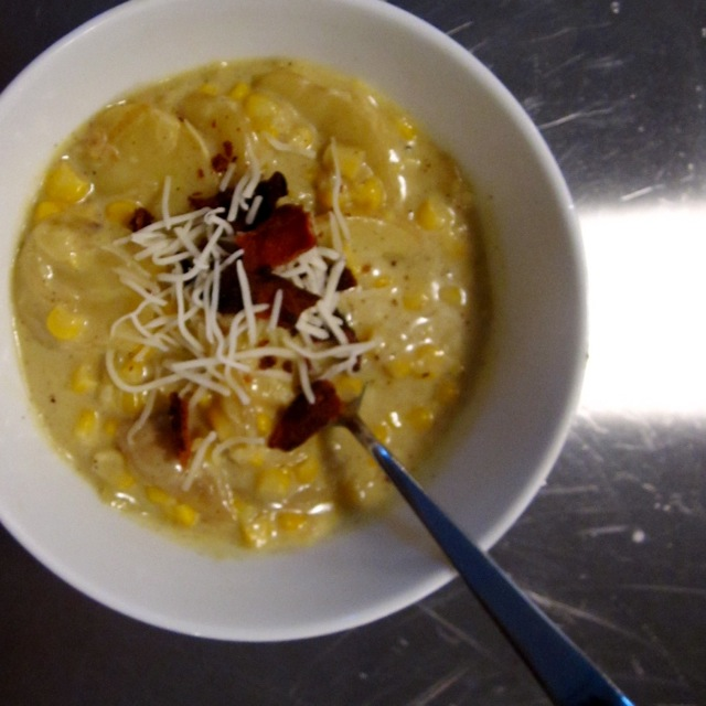 corn chowder serving