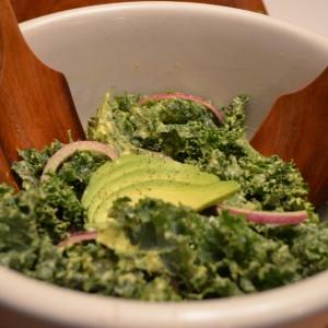 kale caesar salad finished
