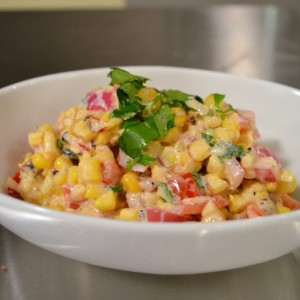 charred corn salad finished