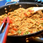 spicy thai chicken pasta noodle toss
