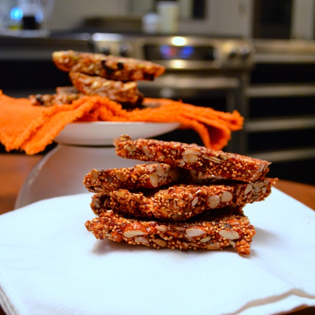 Seedy cherry quinoa bars finished